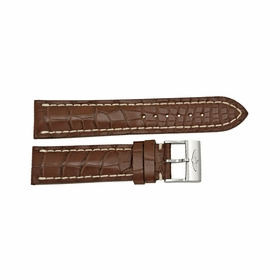 Breitling Strap Brown Leather Strap with White Stitching and a Stainless Steel Tang Buckle 22-20mm
