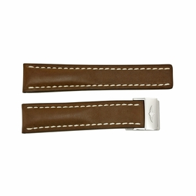 Breitling Strap Brown Leather Strap and White Stitching with a Stainless Steel Foldover Buckle 22-20mm