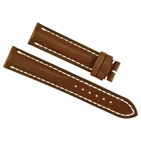 Breitling Brown Leather Watch Band Strap with White contrast Stitching 20-18mm