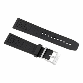 Breitling Black Rubber Strap with a Stainless Steel Tang Buckle 22-20mm