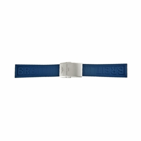 A Breitling Blue Rubber Strap with a Stainless Steel Deployment Buckle 22-20mm