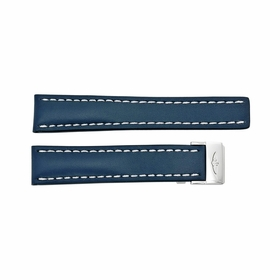 Breitling Watch Band Strap styled in Blue Leather and White Stitching with a deployment  Buckle 20-18mm