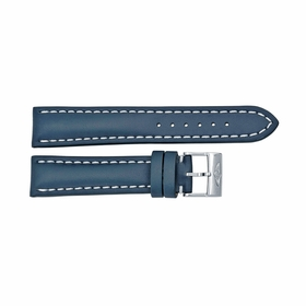 Breitling Blue Leather Watch Band Strap and White Stitching with a Tang Buckle 20-18mm