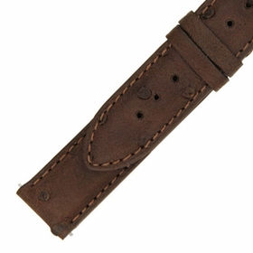 Hadley Roma 14 MM Matte Brown Ostrich Leather Strap