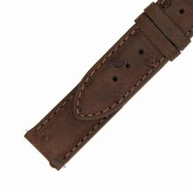 Hadley Roma 18 MM Matte Brown Ostrich Leather Strap