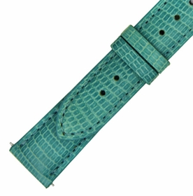 Hadley Roma 18 MM Shiny Teal Lizard Leather Strap