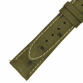 Hadley Roma 20 MM Matte Forest Green Ostrich Leather Strap