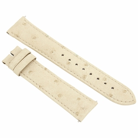 Hadley Roma 20 MM Matte Ivory Ostrich Leather Strap