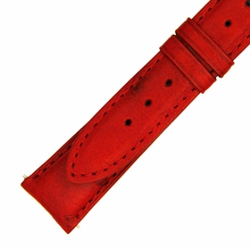 Hadley Roma 20 MM Matte Red Ostrich Leather Strap