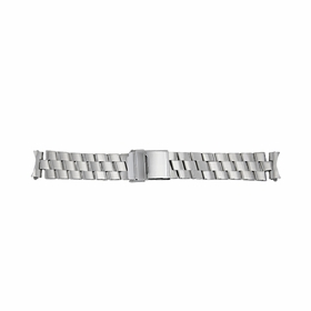 Hadley Roma 20mm Solid Link Design 3 Row Stainless Steel Silver Bracelet.