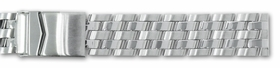 Hadley Roma 20mm Solid Link Design 5 Row Stainless Steel Silver Bracelet.