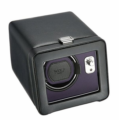 Wolf Windsor Purple/Black Single Watch Winder with Cover 452503