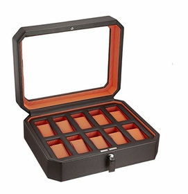 Wolf Windsor Ten Piece Brown/Orange Watch Box 458406