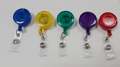 BPID 5PKTRANS Translucent Assortment Retractable ID Badge Reels with Belt Swivel Clip - 5 Pack