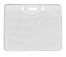 "Brady People ID, Clear Vinyl Horizontal Badge Holder with Slot and Chain Holes, 3.3"" x 2.5"""