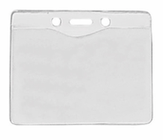 "BPID Clear Vinyl Horizontal Badge Holder with Slot and Chain Holes, 3.3"" x 2.5"""