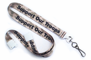 "BPID Camouflage 5/8"" (16 mm) Flat Breakaway ""SUPPORT OUR TROOPS"" Lanyard W/ Swivel Hook"