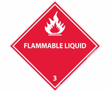 NMC DL161AP Dot Shipping Labels, Flammable Liquid, 3, Label Graphic,, 4X4, Pressure Sensitive Vinyl, 25/PK