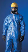 DuPont Large Tychem� CPF1 Blue Bound Seams Coverall With Attached Hood And Boots, Front Zipper Closure And Elastic Wrists