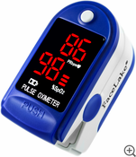 Fingertip Pulse Oximeter - Blood Oxygen Monitor (Blue) - with Case