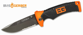 "Gerber Bear Grylls Folding Knife w/ Sheath - 3.6"" Combo Edge"