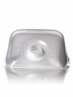 CPS, 1 gallon clear LDPE cube-shaped collapsible water container with 38-400 neck finish