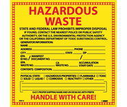 NMC HW15 Hazardous Waste Labels, 6X6, PS Vinyl, 25/PK
