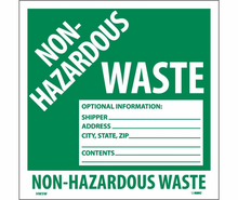 National Marker, Non-Hazardous Waste Labels , 6X6, PS VINYL, 25/PK