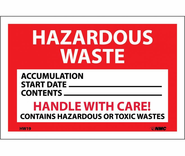 NMC HW19 Hazardous Waste Handle With Care, Hazmat Label