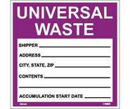 Nation Marker, Hazardous Materials Shipping, Universal Waste , Pressure Sensitve Vinyle 25 / Pack