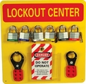 """NMC LOBY Lockout Tagout Center Kit with Hooks, 14"""" Width x 14"""" Height, Red on Yellow"""