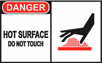"LSS 20791 ""CAUTION HOT SURFACE DO NOT TOUCH"" 11 X 7 Rigid Plastic Sign"