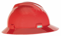 MSA 475371 Full Brim Slotted V-Gard Hard Hat With Fas-Trac Ratchet Suspension