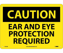 NMC Ridged Plastic 10X14 Caution Safety Glasses And Ear Protection Sign