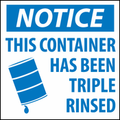 """National Marker HW23 """"NOTICE THIS CONTAINER HAS BEEN TRIPLE RINSED"""""""