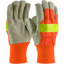 PIP® Top Grain Pigskin Leather Palm Glove with Hi-Vis Nylon Back and 3M™ Thinsulate™ Liner - Knitwrist