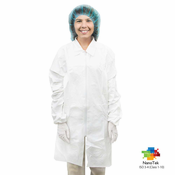 Valutek VTMLBCTZ Microporous Cleanroom Lab Coats, Zippered, White, 30 Pieces