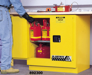 Justrite 892300 22 Gallon Yellow Under Counter Flammable Storage Cabinet