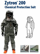 Kappler® Zytron® Z200 Totally Encapsulating Level B Rear Entry Suit w/ Flat Back and Side Air Inlet.