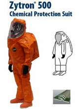 Kappler® Zytron® 500 Totally Encapsulating Level A Front Entry Expanded Back Suit with 2n1™ Glove System - Faceshield 40 Mil. PVC and 5 Mil. Teflon Over-lay on Lens - CE Certified Type 1aET.