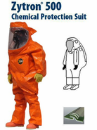 Kappler® Zytron® 500 NFPA 1994/2012 Edition Class 2 Certified Totally Encapsulating Level A Front Entry Expanded Back Suit with 2n1™ Glove System - Faceshield 40 Mil. PVC and 5 Mil. Teflon Over-lay on Lens.