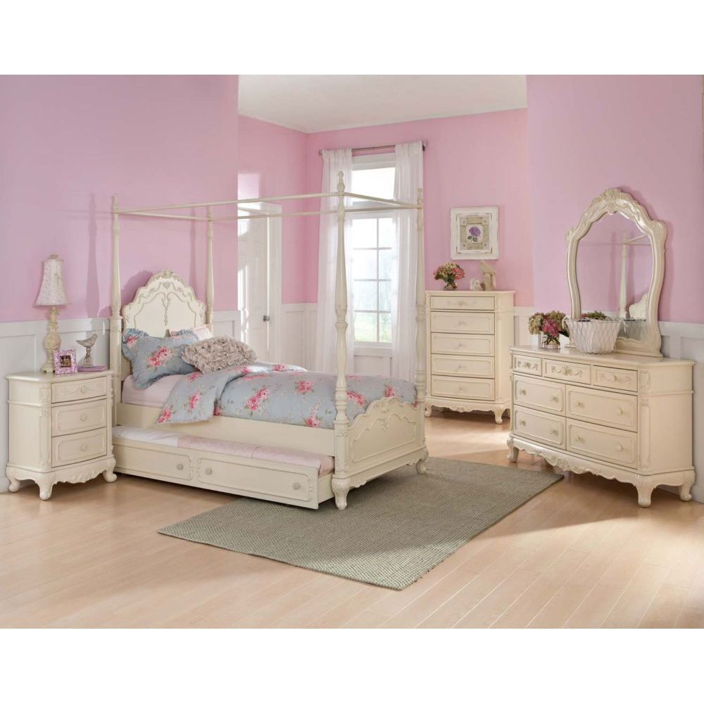 Details about twin canopy bedroom youth princess rebecca for White bed set furniture