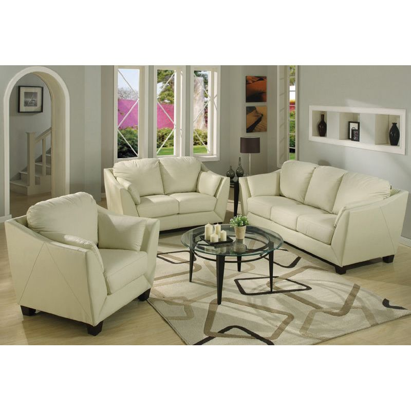 Ivory leather living room sets modern house for Matching living room furniture sets