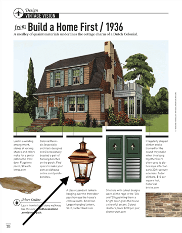 """<span class=""""as-shown"""">American Legacy Pendant as seen in Old House Journal May 2015 Vintage Vision section for a Dutch Colonial style home.<br>(Click image for full size version).</span>"""