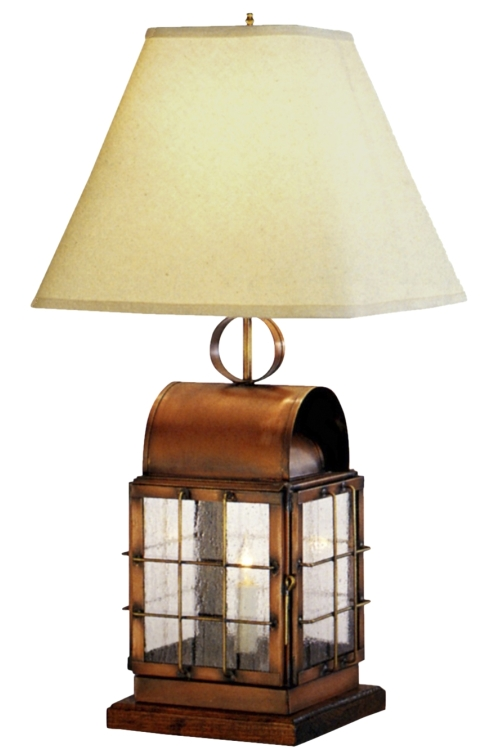 back bay copper lantern table lamp handmade nautical light. Black Bedroom Furniture Sets. Home Design Ideas