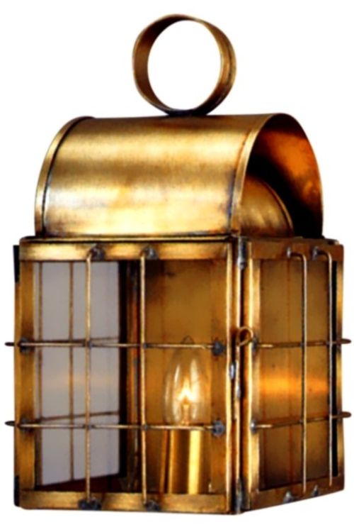 "As Shown:<br> <span class=""c6""><b>Back Bay Wall Sconce - Profile</b><br>  Size: <b>1 Only - 14.5"" H x 9"" W x 8.5"" D</b><br>Sockets: <b>1-60W Medium Base</b><br>Finish: <b>Antique Brass</b><br> Glass:<b> Cleard</b></span>"
