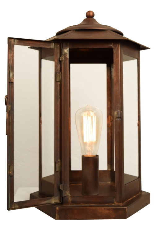 Baja Mission Style Pier Base Column Mount Copper Lantern with Door Open