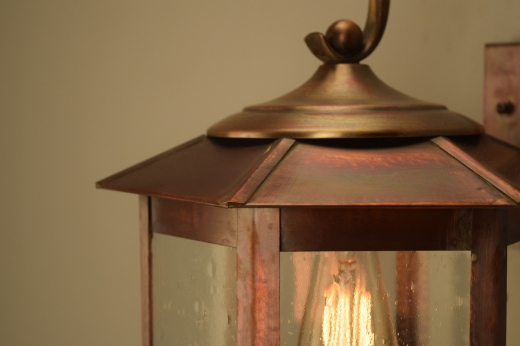 Baja Mission Style Copper Lantern Outdoor Wall Light with Bracket