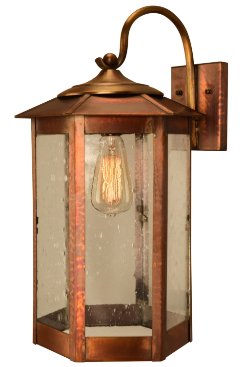 Baja Mission Style Outdoor Wall Light with Bracket Copper Lantern