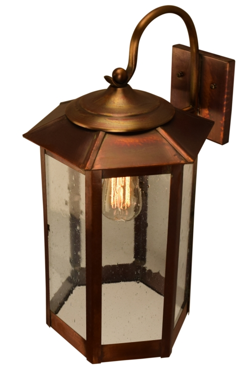 Lantern Type Wall Lights : Baja Mission Style Outdoor Wall Light with Bracket Copper Lantern